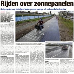 Het Belang van Limburg over Interreg-project ROLLING SOLAR: 'Rijden over zonnenpanelen'